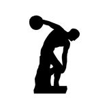 Discus thrower or discobolus sculpture icon image Royalty Free Stock Images