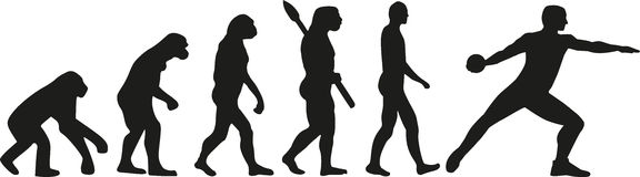 Discus thrower evolution. Silhouette of athlete Stock Images