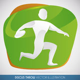 Discus Thrower Launching the Heavy Disc with all his Strength, Vector Illustration. Discus thrower ready to throw his heavy disk and go for a new world record Stock Photos