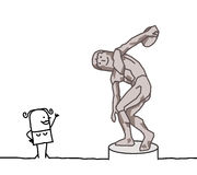 The discus thrower parody Stock Photography