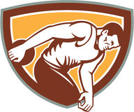 Discus Thrower Shield Retro. Illustration of a discus thrower set inside shield crest on isolated background done in retro style Stock Images