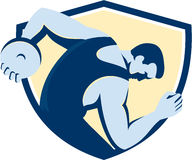 Discus Thrower Side Shield Retro. Illustration of a discus thrower viewed from the side set inside shield crest on isolated background done in retro style Stock Images