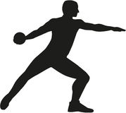 Discus thrower. Silhouette of a Discus thrower Royalty Free Stock Photography