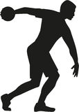 Discus thrower silhouette. With discus disk Royalty Free Stock Image