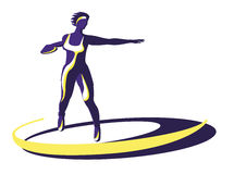 Discus thrower at a sporting event. Silhouette of a woman-discus thrower with disk isolated on a white background Royalty Free Stock Photography