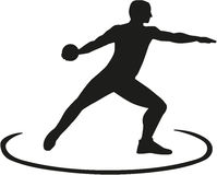 Discus thrower standing in the circle Stock Photography