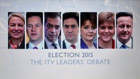 Discusión BRITÁNICO de la elección TV fotos de archivo