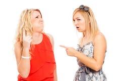 Discusión dada una sacudida eléctrica de las mujeres Imagen de archivo libre de regalías