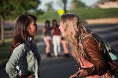 Discusión de dos muchachas Foto de archivo libre de regalías
