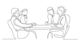 Discusión de los colegas del negocio durante el encuentro - un dibujo lineal ilustración del vector