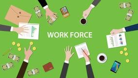 Discusión del concepto de la fuerza de trabajo en un ejemplo de la reunión con papeleos, dinero, las monedas y el documento de la Foto de archivo