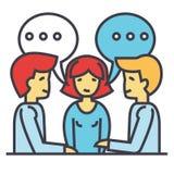 Discusión del negocio, hombre de negocios y negociación del hombre de negocios, negociación, inspirándose concepto Stock de ilustración