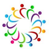 Discusión del símbolo del círculo de la unión de la gente del multicolor de la gente junto, hombres de negocios del logotipo ilustración del vector