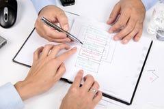 Discusión sobre estrategia de las negociaciones imagenes de archivo