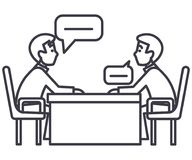 Discussão de dois sócios, entrevista, questionando, linha ícone do vetor do exame, sinal, ilustração no fundo ilustração royalty free