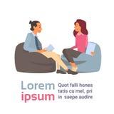 Discussão de fala do homem e da mulher de negócio, uma comunicação de assento do bate-papo dos empresários ilustração stock