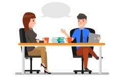 Discussão de fala do homem e da mulher de negócio, bate-papo S dos empresários ilustração stock