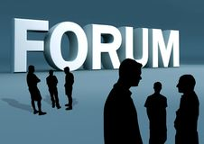 Discussão de grupo do fórum imagem de stock