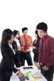 Discussão do negócio isolada no branco Foto de Stock