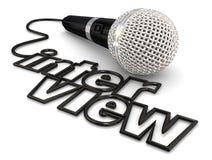 Discussão do Podcast do rádio da palavra do fio do cabo do microfone da entrevista ilustração royalty free