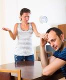 Discussão doméstica entre esposos Foto de Stock Royalty Free