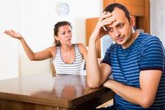 Discussão doméstica entre esposos Imagens de Stock Royalty Free