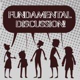 Discussão fundamental do texto da escrita Conceito que significa a ação ou o processo necessário de falar algo silhueta ilustração stock