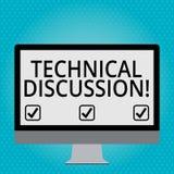 Discussão técnica do texto da escrita Conversação ou debate do significado do conceito sobre uma placa técnica específica da ediç ilustração royalty free