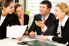 Discussing business plans Stock Image