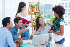 Discussing business team in a meeting Stock Images