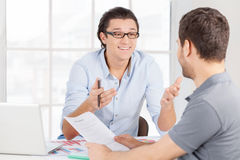 Discussing contract. Royalty Free Stock Photo