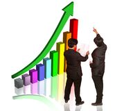 Discussing  market growth chart Royalty Free Stock Photo