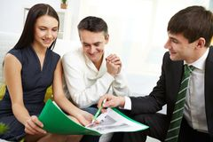 Discussing mortgage conditions Stock Image