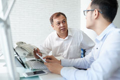 Discussing news Stock Image