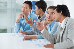 Discussing presentation Royalty Free Stock Image