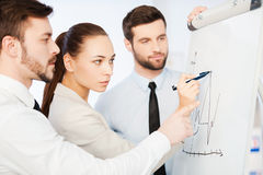 Discussing progress graph. Royalty Free Stock Image
