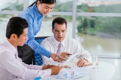 Discussing report Stock Images