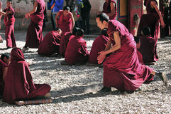 Discussing scriptures monks in Tibet. Tibetan monks at Sera monastery debating in the courtyard Royalty Free Stock Images
