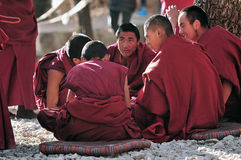 Discussing scriptures monks in Tibet Royalty Free Stock Image