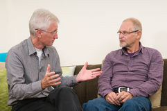 Discussing Seniors. Two discussing seniors at home Stock Photography