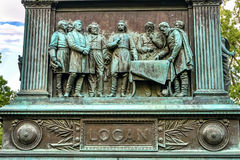 Discussing Stragegy General John Logan Civil War Memorial Washington DC. Discussing Strategy General John Logan Memorial Civil War Statue Logan Circle Washington Stock Photo