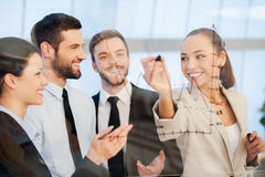 Discussing successful business project. Royalty Free Stock Photo