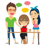 Discussing Work Coworking. Freelancers on coworking place discussing work and talking friendly stock illustration