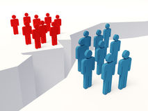 Discussion. Between red and blue people royalty free illustration