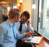 Discussion. Business men work together in team Royalty Free Stock Image