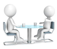 Discussion. 3D little human characters X2 discussing over a cup of coffee. Business People series Stock Photo