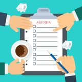 Discussion of agenda. Businessmen make up agenda. Daily routine. Schedule and planning in management and administration. Flat vector cartoon illustration Royalty Free Stock Image