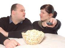 Discussion au sujet de programme de TV Photographie stock