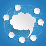 Discussion Bubbles Blue Sky. Infographic design on the blue background vector illustration