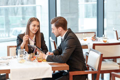 Discussion of business ideas during the lunch Stock Images